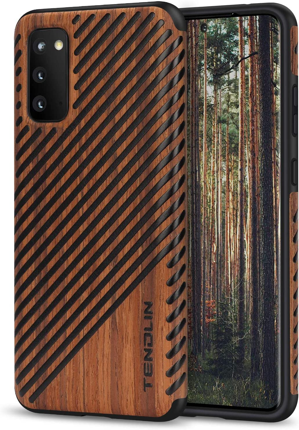 TENDLIN Compatible with Samsung Galaxy S20 Case Wood Grain Outside Design TPU Hybrid Case (Wood & Leather)