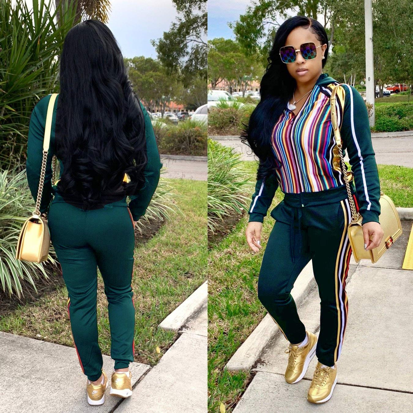 Women\'s Rainbow Stripe Sweatsuits - Fashion Front Zip up Hoodied Jogging Suits Medium Green