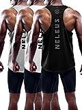 Neleus Men's 3 Pack Dry Fit Athletic Muscle Tank Workout Gym Shirt,5031,Black,Grey,White,XL,EU 2XL
