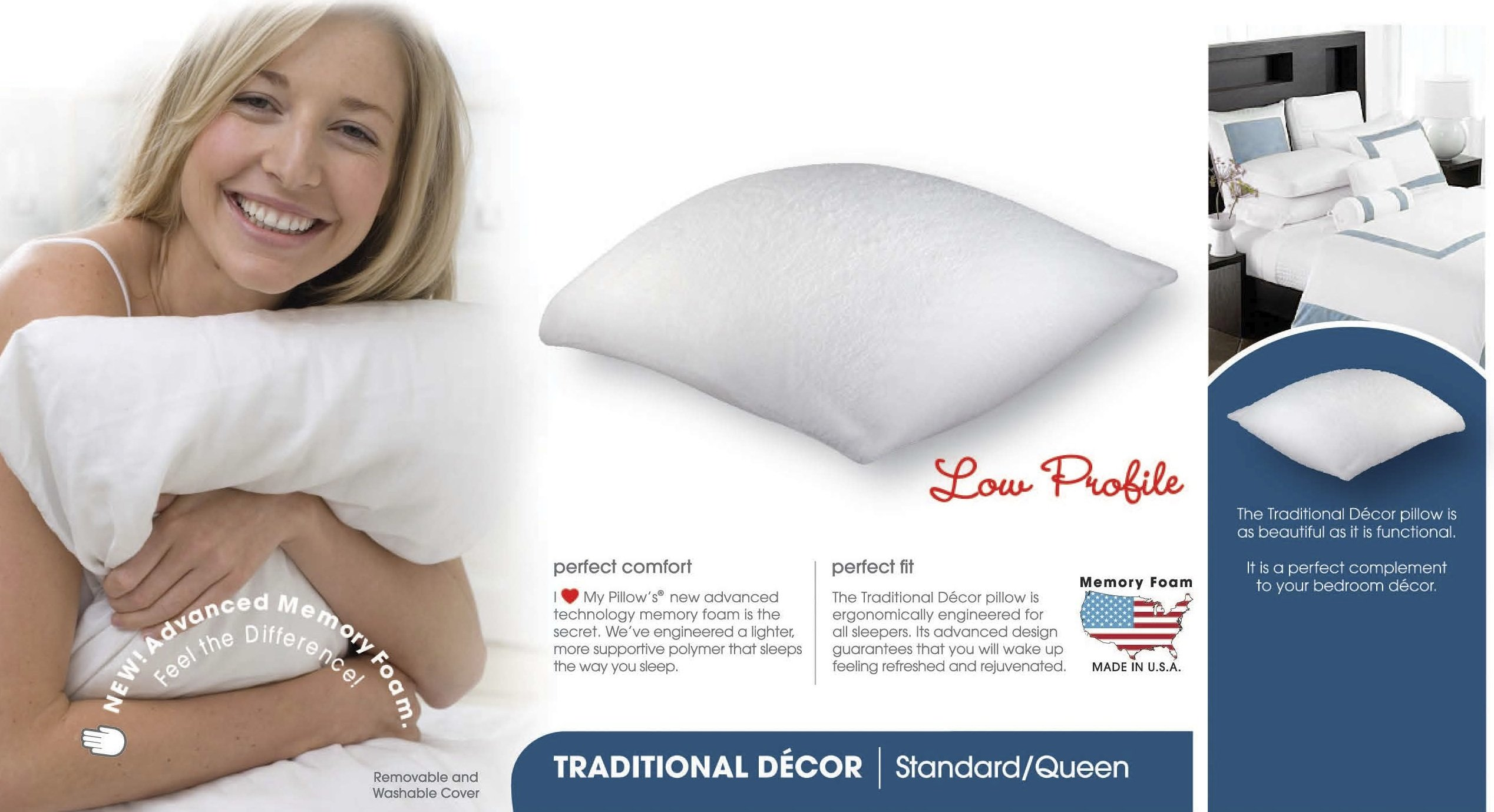 I Love My Pillow Standard Queen Memory Down Low Profile Supreme Pillow - White