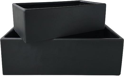 Juego de 2 maceteros de alta calidad para jardín (alargados, 100 x 50 x 32 cm y 80 x 40 x 25 cm), color negro: Amazon.es: Jardín
