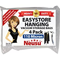 Neusu EasyStore Hanging Vacuum Storage Bags - Heavy Duty 4 Pack - Superior 110 Micron Quality