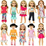 Ecore Fun 10 Sets 14.5 Inch Doll Clothes Outfits Dresses Pajamas Hair Clips for 15 Inch Girl Dolls
