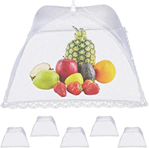 6 Pack Food Cover Mesh Food Tent, 17inch Pop-up Encrypted Mesh Mesh Tent, Foldable Party Picnic Barbecue Food Covers Mesh