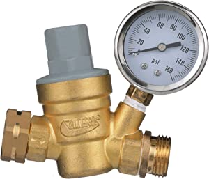 Valterra Water Regulator, Lead-Free Brass Adjustable Water Regulator with Pressure Gauge for Camper, Trailer, RV Plumbing System