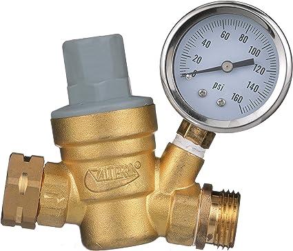 Amazon Com Valterra Rv Water Regulator Lead Free Brass Adjustable Water Regulator With Pressure Gauge For Camper Trailer Rv Plumbing System Automotive