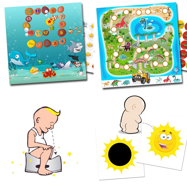Tö pfchen-Trainer fü r Kleinkinder - 2 Aufkleber verfä rbende Sonne + Belohnungsprogramm Doppelset Aquarium und Dinos LK-Trend & Style