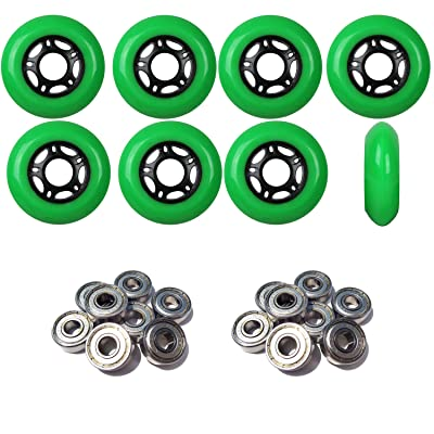 Player's Choice Outdoor Inline Skate Wheels 80MM 89a Green x8 W/ABEC 5 Bearings : Sports & Outdoors