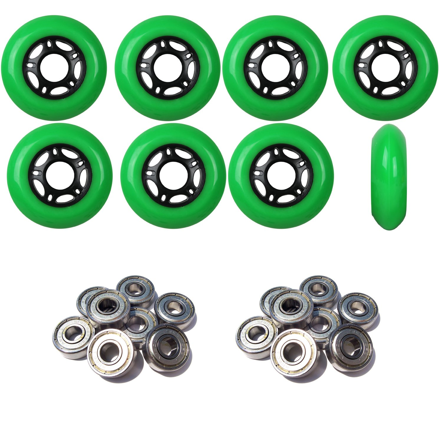Player's Choice OUTDOOR Inline Skate Wheels 76MM 89a GREEN x8 W/ABEC 9 BEARINGS