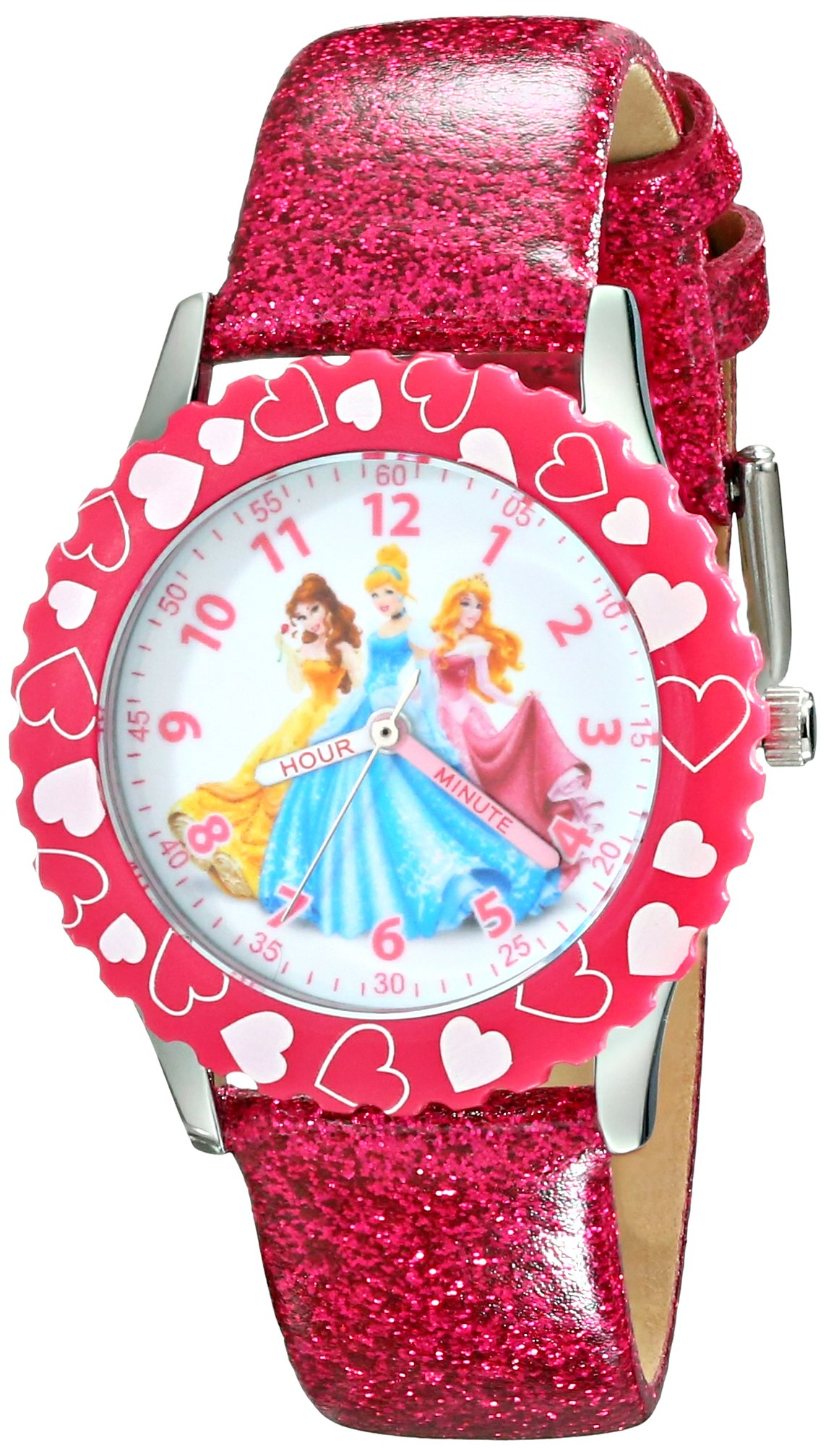 Disney Kids' W001801 Princess Stainless Steel Watch with Pink Glitter Faux Leather Band by Disney