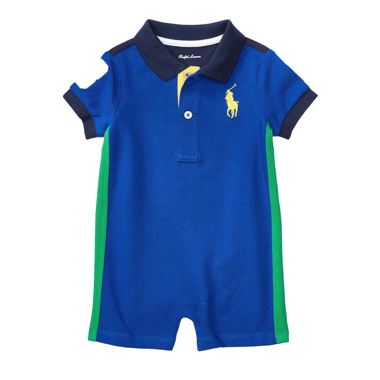 b4bc49b0cc1e8 Amazon.com: RALPH LAUREN Polo Baby Boys' Big Pony Cotton Mesh Shortall  Romper: Clothing