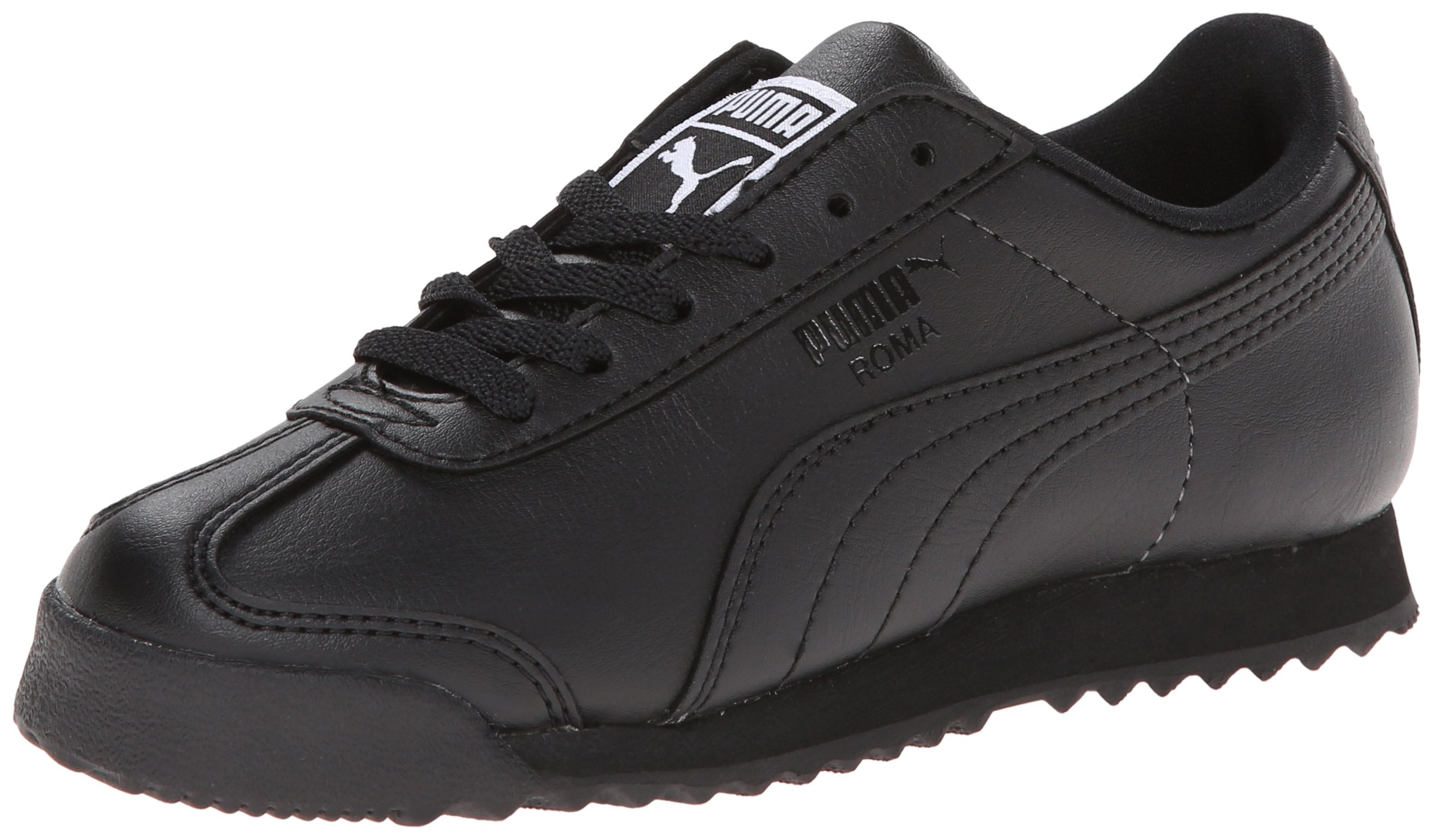 PUMA Roma Basic JR Sneaker (Little Kid/Big Kid), Black/Black, 4.5 M US Big Kid