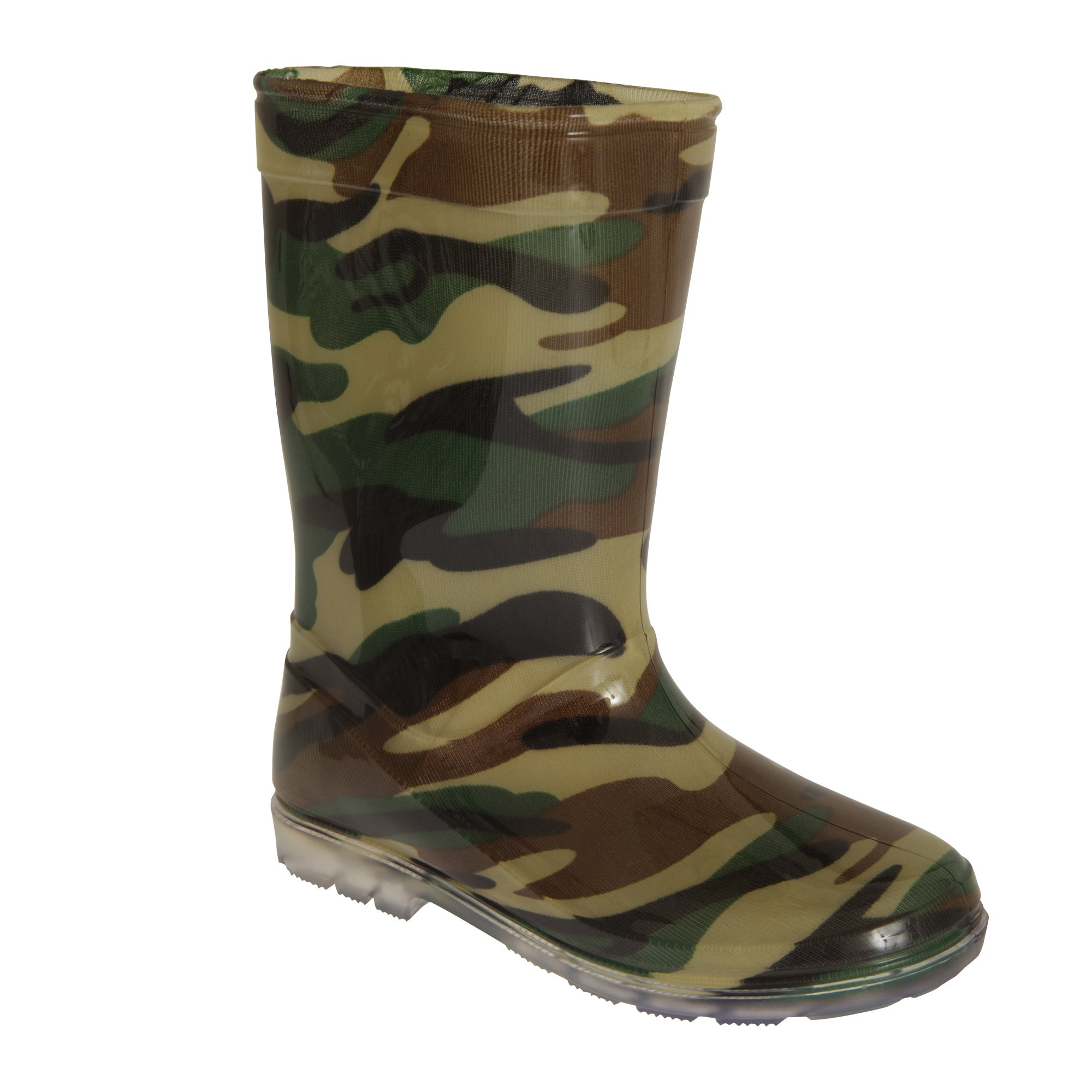 Mudrocks Childrens Boys Camo Pattern PVC Wellington Boots (11 Child US) (Green)
