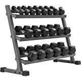 XMARK Heavy Duty Dumbbell Rack, 2 3 Tier Dumbell Rack, Rack Only Rack Plus Dumbells, 350 lbs. to 550 lbs Hex Dumbells Sets