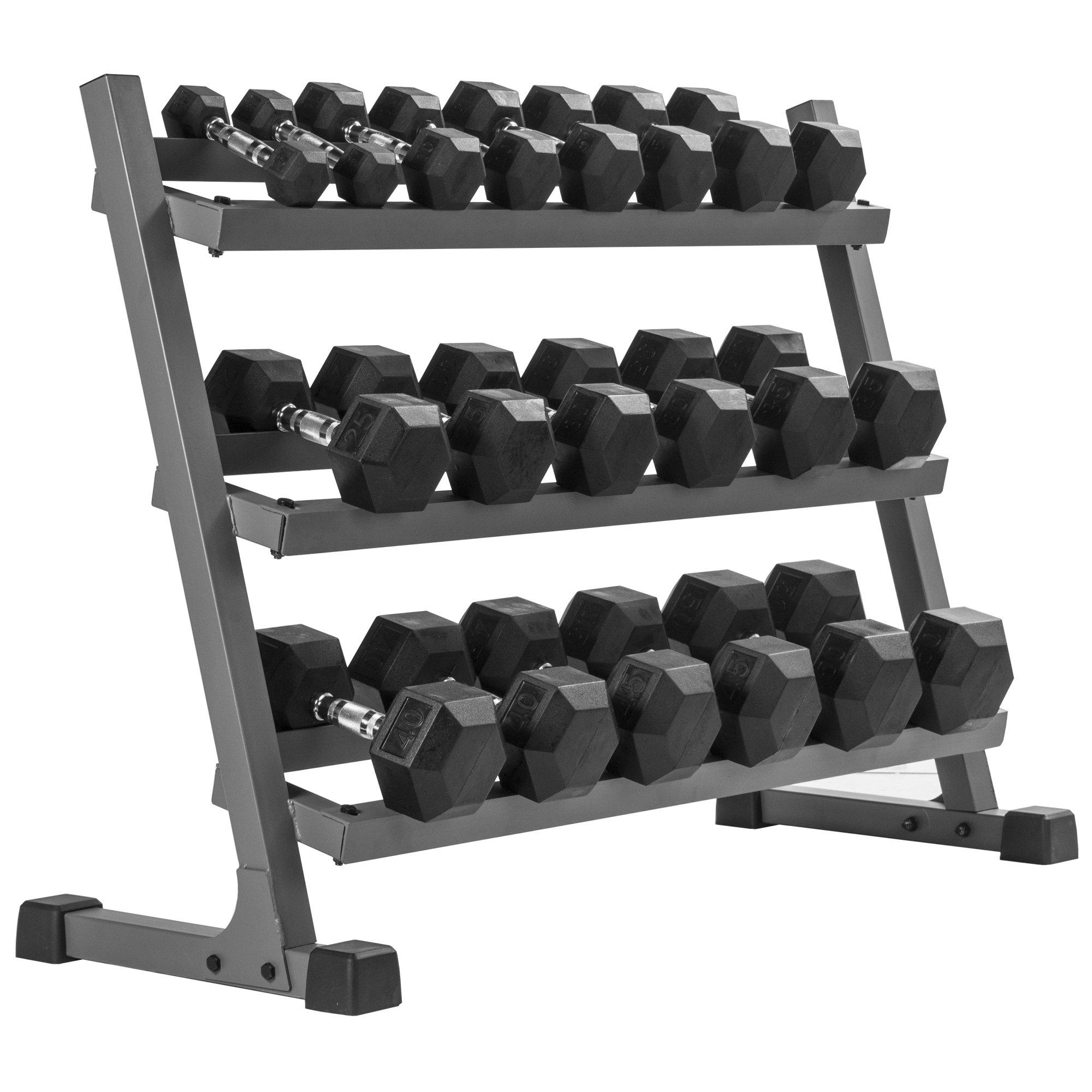 XMark's 550 lb. Premium Hex Dumbbell Set (10 Pair: 5 lb to 50 lb Pairs) with XMark's Heavy Duty Three Tier Dumbbell Rack (Gray Rack)