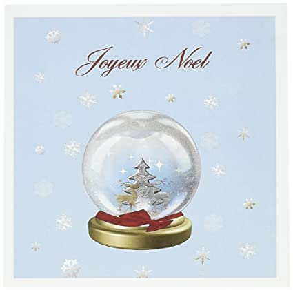 Amazon snow globe deer merry christmas in french greeting snow globe deer merry christmas in french greeting cards 6 x 6 inches m4hsunfo