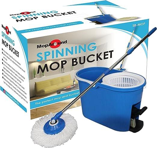 Sistema de limpieza de piso de 360 mopas y cubetas Manija con 2 microfibras