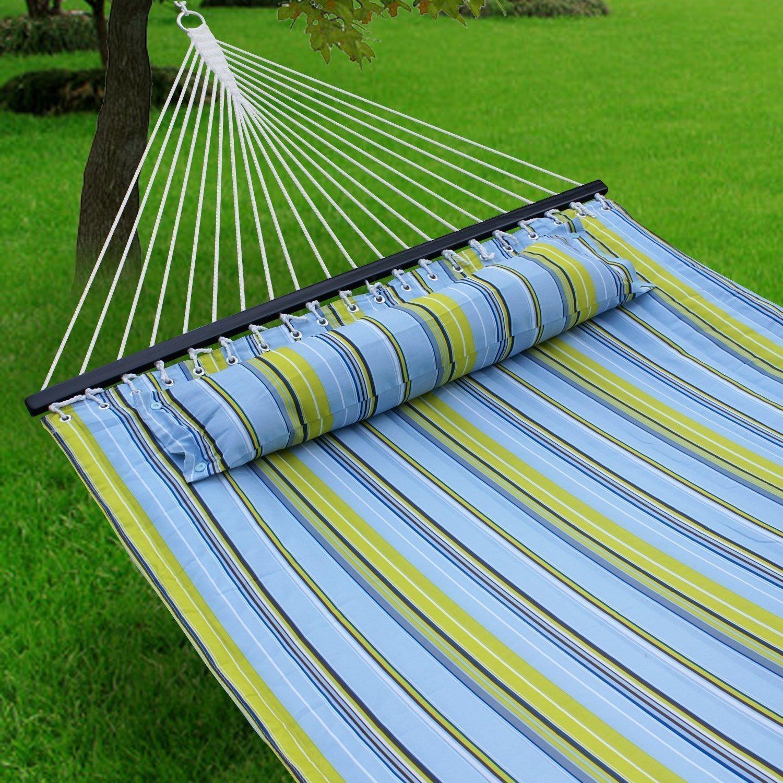 キルト風生地ダブルサイズSpreader Bar Heavy Dutyポータブルアウトドアキャンプハンモックwith Pillow 135''x55'' overall length (75''x55'' bed length) NM0196 B00R16VS8O ブルー ブルー