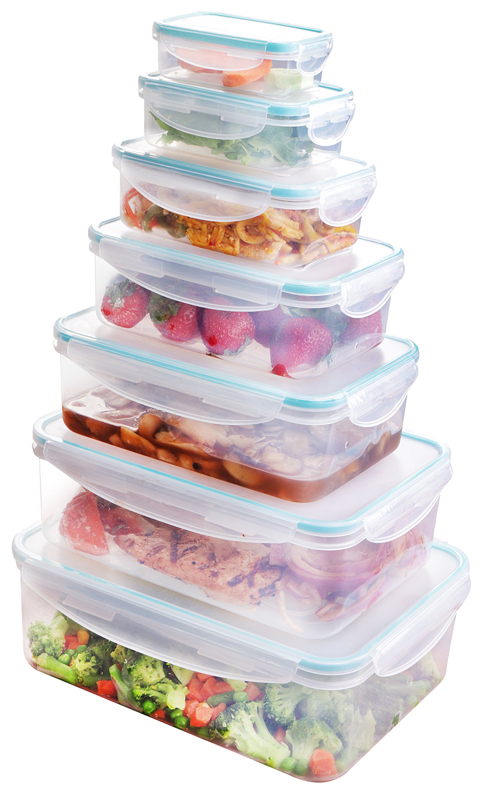 Utopia Kitchen Plastic Food Storage Container Set (14 Pieces - 7 Containers & 7 Lids) - Air-Tight & BPA-Free - Reusable For Multipurpose Use