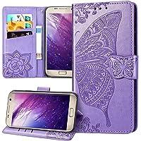 Hoesje voor Galaxy S7 Edge Cover,Embossed Mandala Butterfly Rose Flower PU Lederen Fold Portemonnee Kickstand Card Slots…