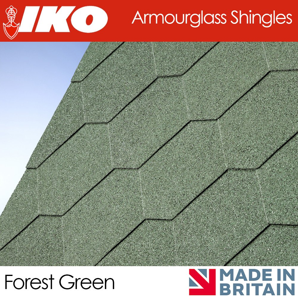 IKO Hexagonal Shingles | Shed Roof Felt Tiles | 3m2 | 3 Colours | Forest Green