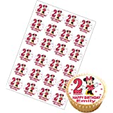 24 x Personalised Minnie Mouse Birthday Cup Cake Toppers with Any Name & Age on Decor Real Edible Icing