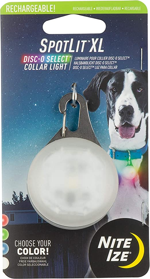 Nite Ize Spotlit XL LED Collar Light, Carabiner Clip Dog Light, USB Rechargeable, Disc-O Select Color-Changing Light