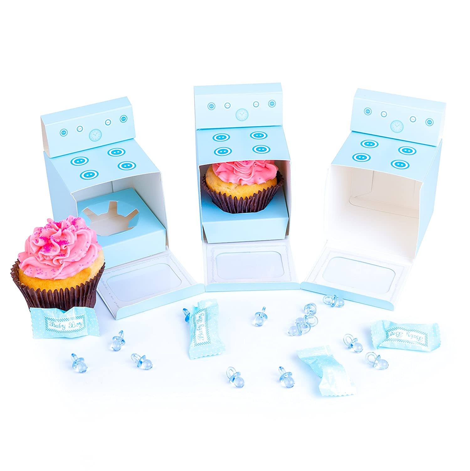 Bun In The Oven Cupcake Boxes For Baby Shower Favor Boy Girl Gender