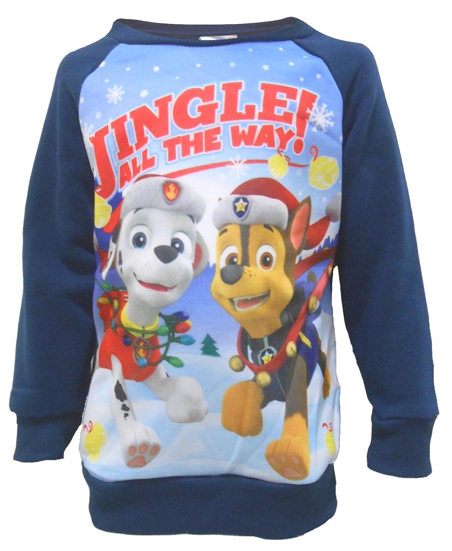 Jungen Offiziell klimpern alle den Weg Klaue PATROL Marshall & Chase festlich Weihnachten Sweatshirt weiß rot grün 2/3 UK Child