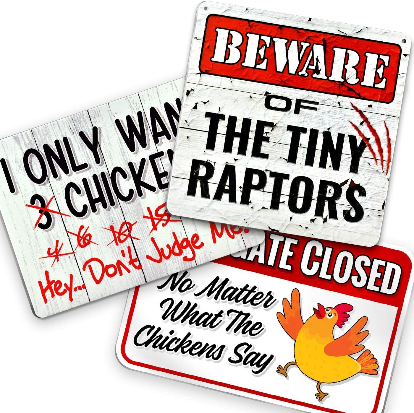 Bigtime Signs 3 Pack Chickens Signs - Funny Coop, Farm, Home, Kitchen, Outdoor, Rooster/ Hen House Decorations - 2 Holes for Easy Hanging, Strong Material - Silly Decor for Poultry Fans