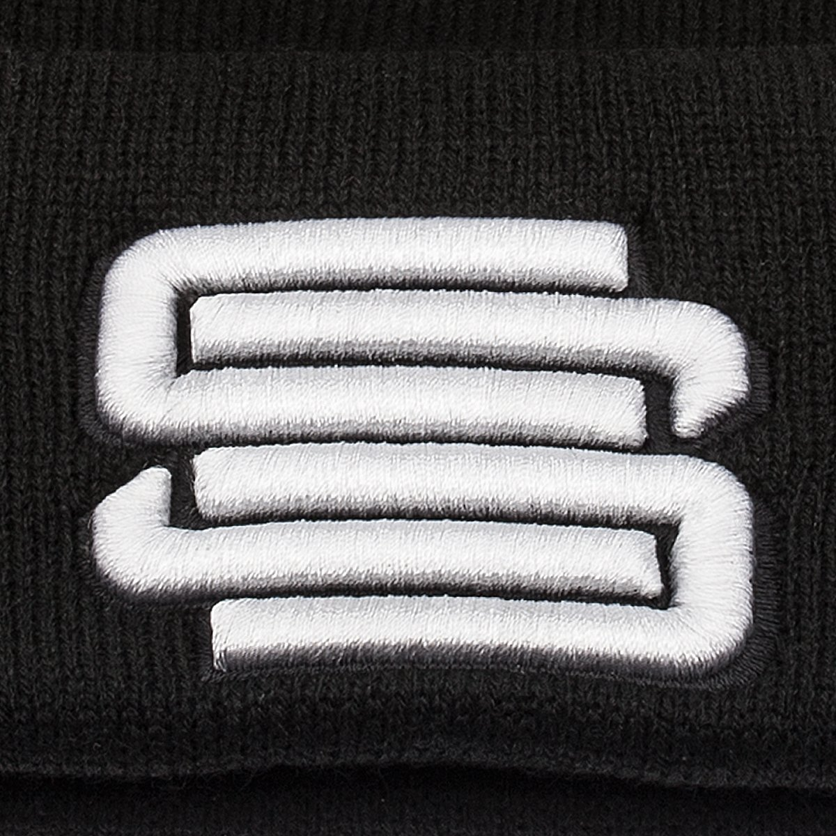 56a07b73e Supreme Suspensions Black w/White Embroidered Logo Raised Cuff Knit ...