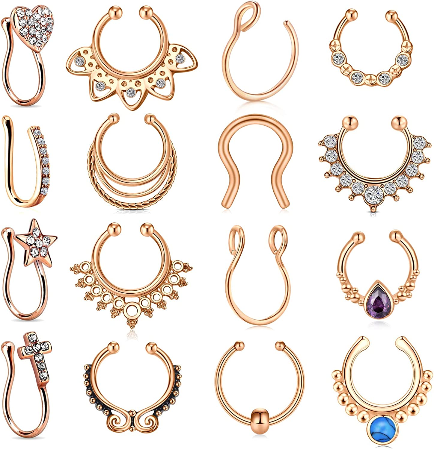 vcmart Fake Septum Nose Rings Hoop Stainless Steel Faux Lip Ear Nose Septum Ring Non Piercing Clip On Nose Hoop Rings Body Piercing Jewelry
