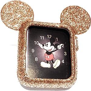 SBN Rose Gold Glitter Mickey Apple Watch Case Size 42mm iWatch Case Series 4, 3, 2, 1 Cartoon Mouse Ears Apple Watch Case