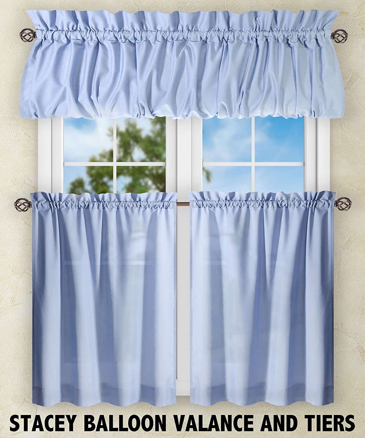 "Ellis Curtain Stacey 56-by-45"" Tailored Tier Pair Curtains, Slate"
