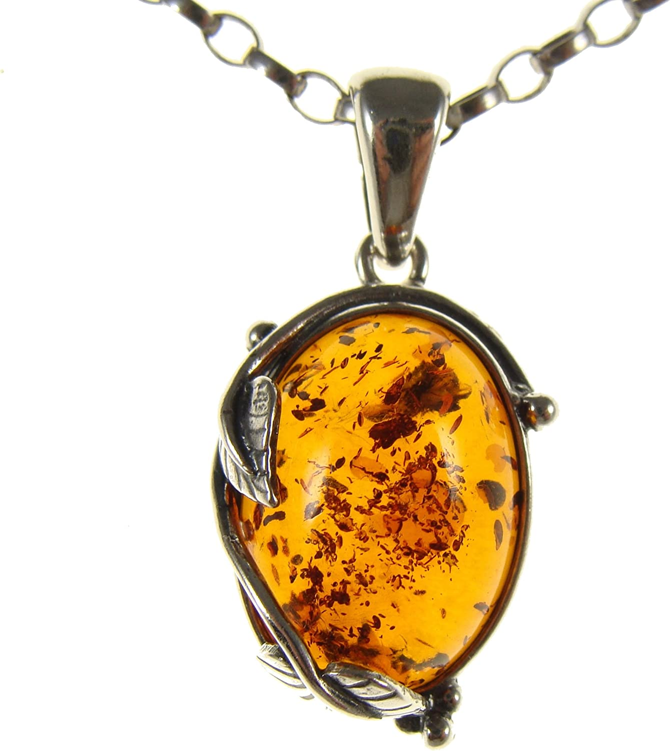 BALTIC AMBER STERLING SILVER 925 ALPHABET LETTER H PENDANT JEWELLERY JEWELRY