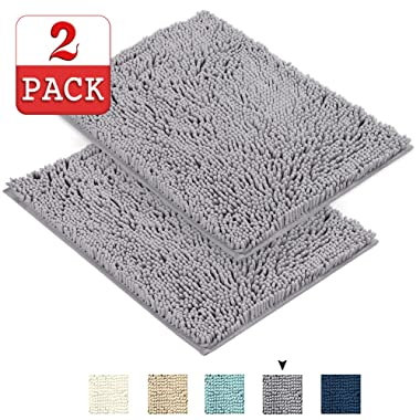Grey Rugs for Bathroom Machine-Washable Bath Mats with Water Absorbent Soft Microfibers Bathroom Rugs Non Slip Shag Bath Mat for Bedroom Bath Mats for Floors, 17 x 24 , Grey, Two Pack