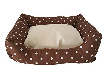Caseta, Litera, cojín para mascotas, perros, gatos. Color marrón lunares blanco