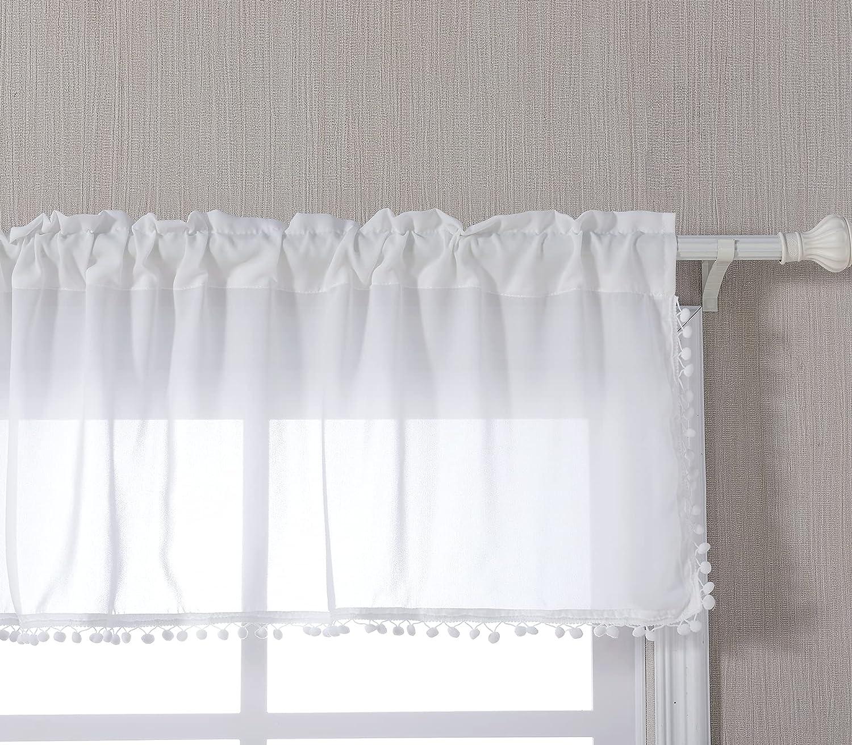 YoKii White Boho Sheer Valances for Windows Semi-Sheer Heavy Duty Chiffon Voile Pompom Window Treatment Valance Kitchen Curtains Topper for Bedroom Living Room Bohemian Decor (W52 x L18, White)