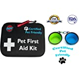 Pet First Aid Kit | 45-Piece First Aid Kit for your Pets | Perfect for Home, Travel, Camping, & Hiking | Comprehensive Pet Emergency Care Handbook | Certified Pet Friendly | FDA Approved | Free Bowls