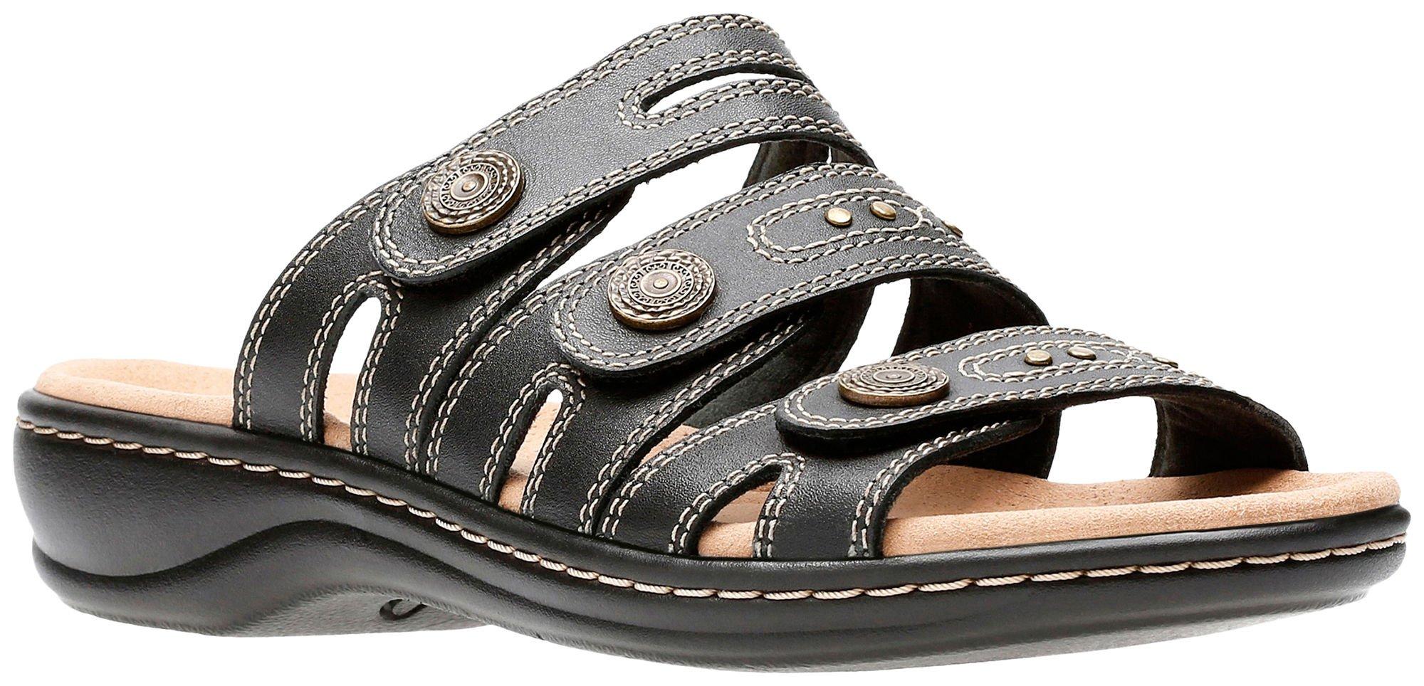 Clarks Women's Leisa Lakia Black Leather Velcro Strap Sandal Size: 8, Width: Medium