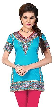 01d78bc45c Amazon.com: Indian Tunic Top Womens Kurti Printed Blouse India Clothing,EA  108 s2,Large: Clothing