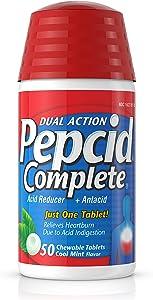 Pepcid Complete Acid Reducer + Antacid Chewable Tablets for Heartburn Relief, Mint Flavor, 50 ct.