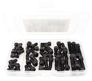 """iExcell 50 Pcs 1/4-20UNC x 3/8"""" 1/2"""" 5/8"""" 3/4"""" 1"""" 12.9 Grade Alloy Steel Hex Socket Head Cap Screws Bolts Assortment, Black Oxide Finish"""