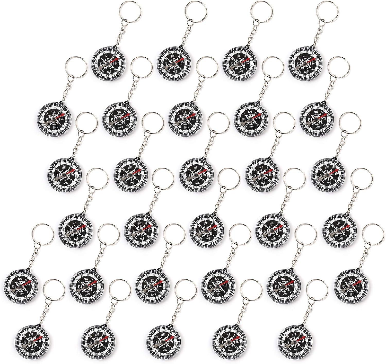 Wellgro - Juego de 30 llaveros con brújula para cumpleaños Infantiles, Cada uno de Aprox. 3,5 x 1,0 cm (diámetro x Altura), Color Negro
