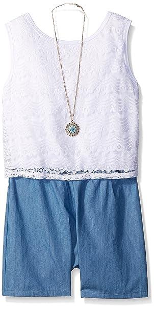 571117d8a074 Amazon.com  Amy Byer Big Girls Lace Popover Denim Romper