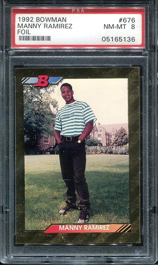 1992 Bowman Manny Ramirez 676 Gold Foil Baseball Card Psa 8