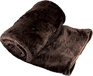Home Soft Things Quilted Flannel Fleece Embroidered Throw Blanket, 50