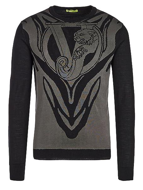 fbd415d9d7 Versace Jeans Couture - Maglione - Felpa - Uomo Black-Grey Medium ...