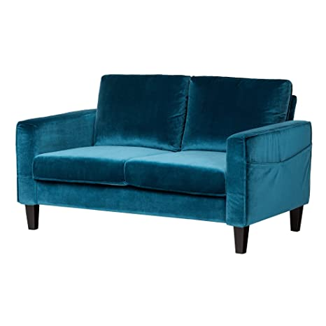 Superb South Shore Loveseat Fabric Sofa 2 Seat Velvet Blue Andrewgaddart Wooden Chair Designs For Living Room Andrewgaddartcom