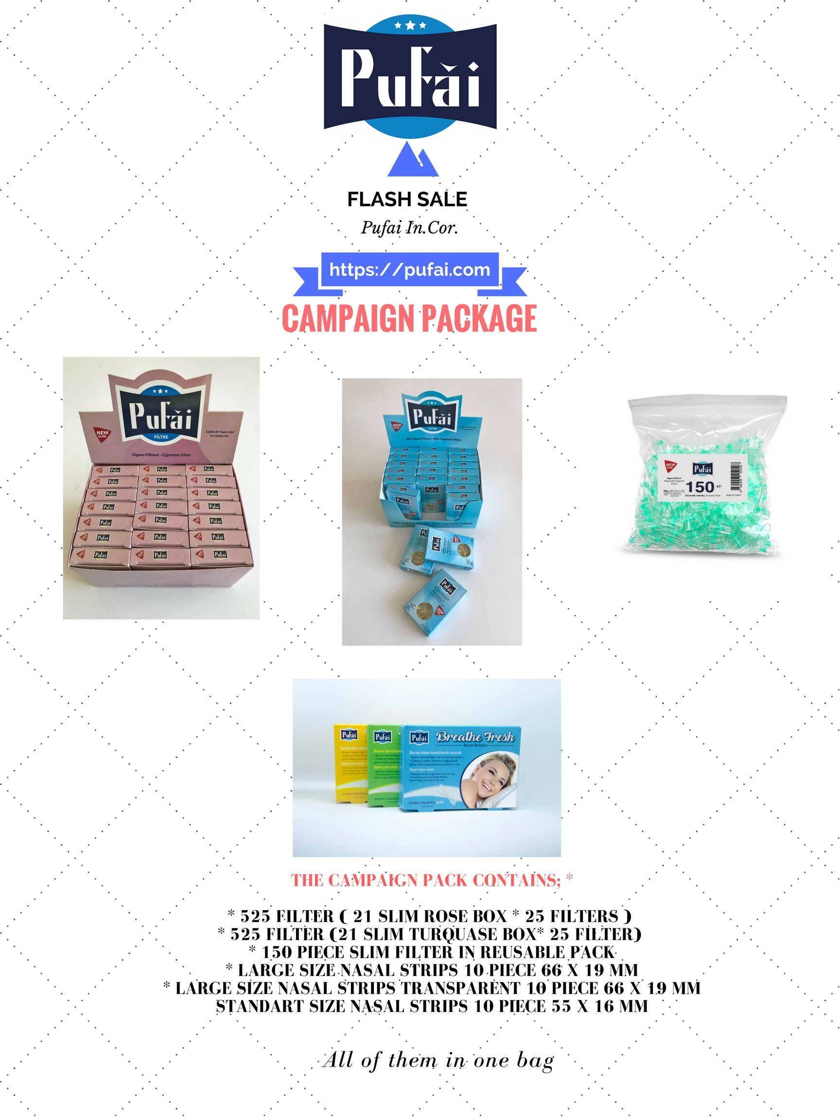 Slim cigarette filters ( it is fit for Virginia Slims Cigarette ) and nasal strips in EXCLUSIVE CAMPAIGN PACK BY PUFAI